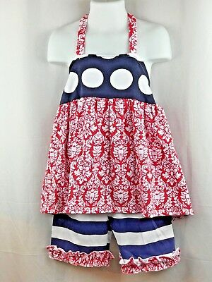 Girls Boutique 2 Piece Halter Top Ruffled Shorts Outfit 2T - 6T Red White & Blue