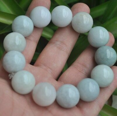 Certified 100% Natural A Emerald Jade ~Bracelet  Have certificate Bead size:18mm