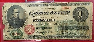 1862 $1 Large Size US Legal Tender Banknote Torn/Tape Low Grade