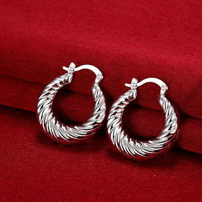 Womens 925 Sterling Silver Elegant 28mm Round Vogue Hoop Pierced Earrings #E196