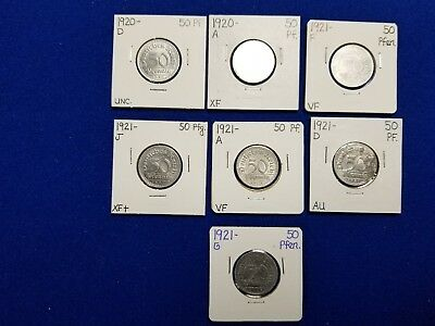 Lot of 7 German Empire coins 1920 and 1921 all sealed in Sleeve clearly Marked!!
