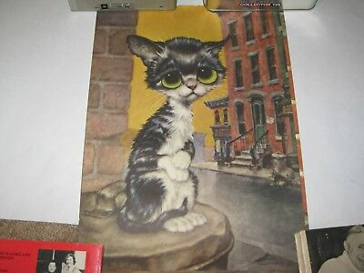 Vintage Big (wide) Eyed Pity Kitty Print by Gig Girard Goodenrow (lot of 4)