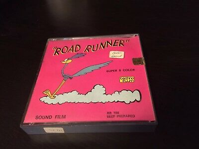 """Vintage Road Runner Super 8 Colour Film By Warner Bros Techno Film""""DISCOUNTED"""""""