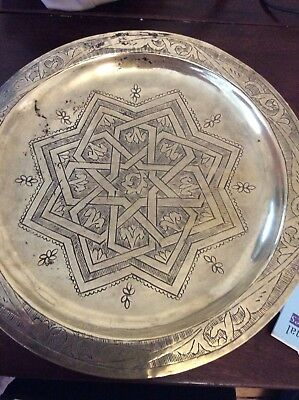 Old Turkish Brass Coffee Tray And  Rose Wood Carved Stand