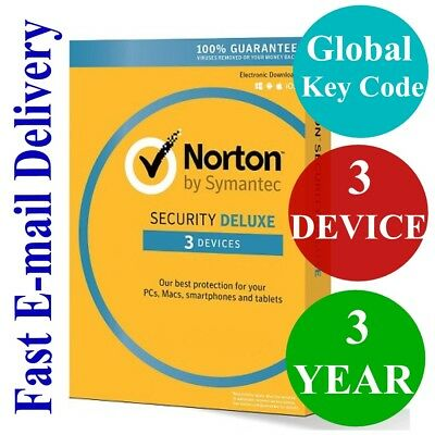 Norton Security Deluxe 3 Device / 1 Year (Unique Global Key Code) 2018