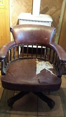 Antique Leather Captains Bow Smokers Chair