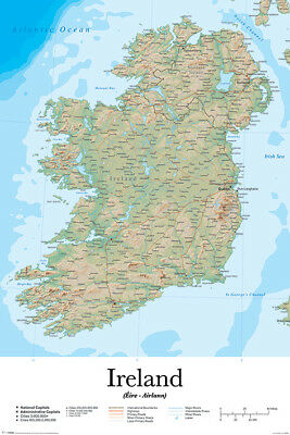 (LAMINATED) Map of Ireland Educational POSTER (61x91cm) NEW Print Art