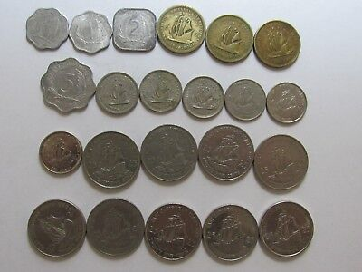 Lot of 21 Different British & East Caribbean Coins - 1955 to 2010 - Circulated