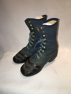 Early Antique Civil War Era Blue Prunella Fabric Top Leather Trimmed Shoes
