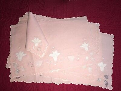 Lovely Antique 12pc Set Pink Linen + Organdy Madeira 6 Placemats 6 Napkins
