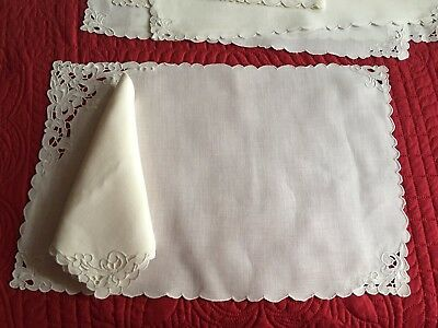 Beautiful Antique 12pc Set Hand Embroidered Linen Madeira 6 Placemats 6 Napkins