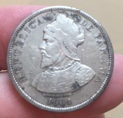 1904 Panama silver 25 centesimos - minted in US size of a half dollar