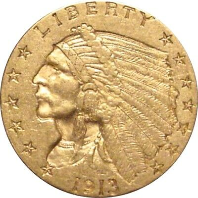 1913 21/2$ Gold Indian--NIce Solid AU