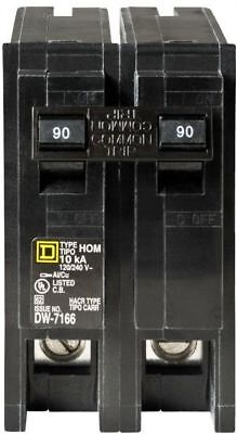 Square D Homeline 90-Amp 2-Pole Electrical Main Circuit Breaker -Trip Protection