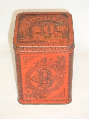 Nice Old Tin Litho Petrolina Not Oil Advertising Pharmaceutical Medicine Tin Can