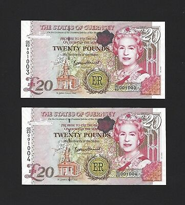 2012 Guernsey 20 Pounds, P-61 Commemorative, 2x Consec, Low SN, UNC Uncirculated