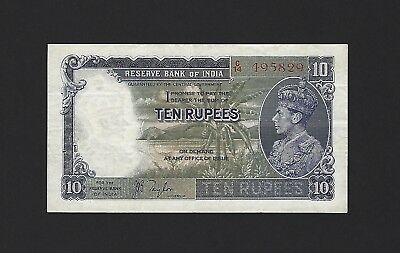 1937 India 10 Rupees, P-19a Taylor, 100% Original Good VF, An Excellent Example