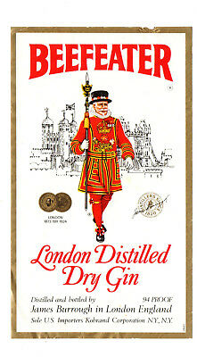 1940s JAMES BURROUGH DISTILLERY, LONDON, ENGLAND BEEFEATER DRY GIN LABEL
