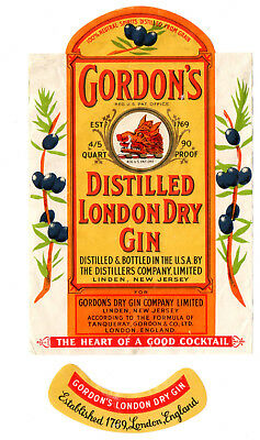 1940s GORDON'S DRY GIN CO, LINDEN, NEW JERSEY DISTILLED LONDON DRY GIN LABEL SET