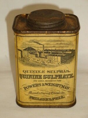 Nice Old Litho Quinine Sulphate Advertising Pharmaceutical Medicine Tin Can