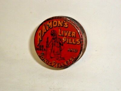 Nice Old Ramon's Liver Pills & Tonic Advertising Pharmaceutical Medicine Tin Can