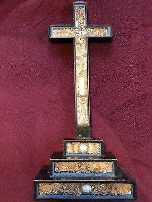 French Paperolle Cross Crucifix 19Th Century  Relics Reliquary Ca. 1860
