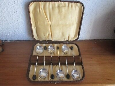 Antique Art Deco 1927 Boxed Set Of 6 Solid Silver Decagon Coffee Bean Spoons.