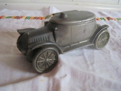 Antique Grey Metal Vintage Car Inkwell inscribed 'WJH Rhyl 1915' with inkpot