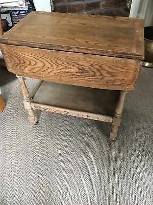 Solid Wood Vintage Drop Leaf Table / Trolley on Castors
