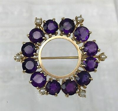 Vintage Deep Royal Purple Amethyst & Pearl 14k Gold Circle Pin