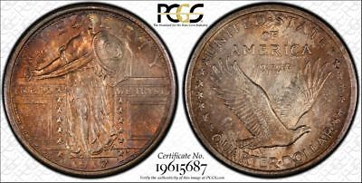 1917 Type 1 PCGS MS64FH Colorful Toned Standing Liberty Quarter (ph196)