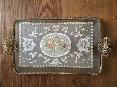 antique brass & glass dressing table tray lace & petit point embroidery inset
