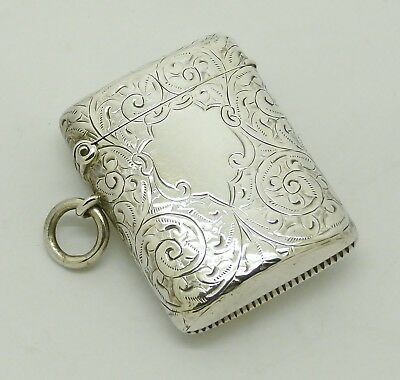 Beautiful Victorian Solid Silver Vesta Case Match Safe Hm 1900 Good Condition