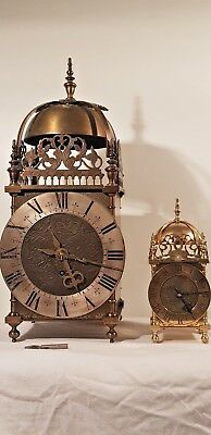 "Superb Giant Single Fusee Brass Lantern Clock 19"" Tall 8"" Dial"