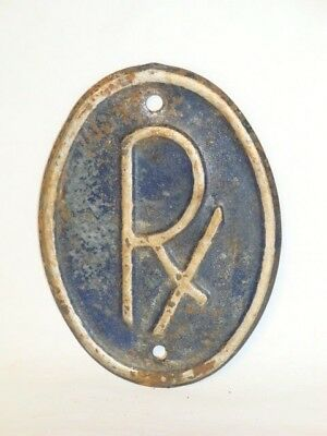 Nice Old Embossed Tin Litho Drug Store RX Advertising Pharmacy Sign Plaque Blue