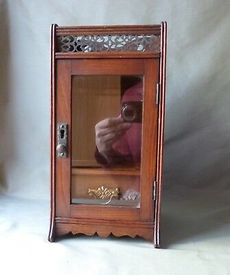 Antique Victorian English Oak Cigar Humidor Smokers Cabinet