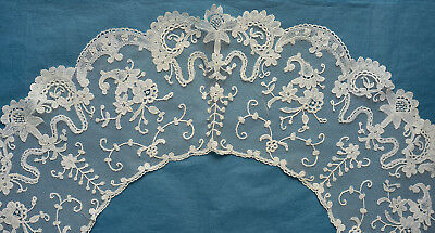Antique 19th century Brussels applique lace bertha