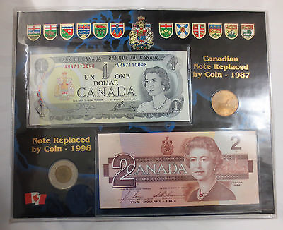 Canada Uncirculated Mixed Dollar Coin & Bill Set - Loonie, Toonie, Paper Money