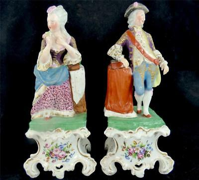 Pair Antique Hand Painted Old Paris Porcelain Figurines Of Gallent & Lady