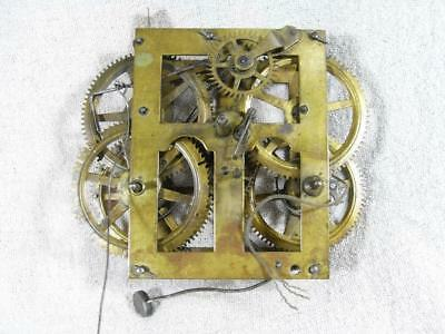 "Antique Brass Mechanical Clock Movement (Approx 5"") For Spares Or Repair"