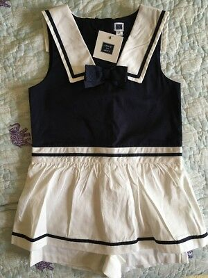 NWT Janie and Jack Shortall Romper Outfit Navy White Cotton Nautical Sailor 5