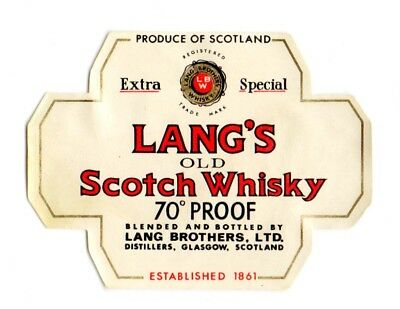 1940s LANG BROTHERS DISTILLERS, GLASGOW, SCOTLAND SCOTCH WHISKEY 1/10 PT LABEL