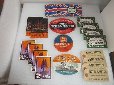 Vintage Original Hotel Travel Luggage / Suitcase Labels - Never Used