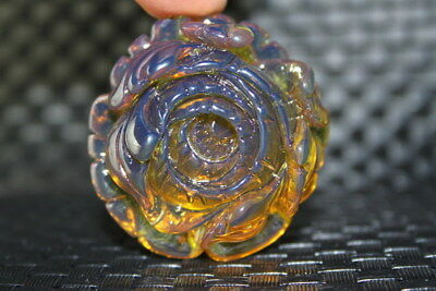 Exquisite Decoration Handwork Lovely Amber Carved Flowers Beautiful Pendant