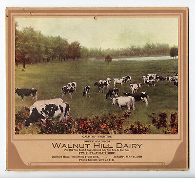 1939 Walnut Hill Dairy Wall Calender Jessup Maryland