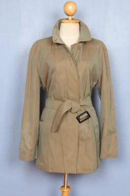 BEAUTIFUL Womens BURBERRY Single Breasted Short TRENCH Coat Mac Green 16/18 L/XL