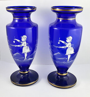 Large Pair of Victorian Mary Gregory Enamelled Gilded Bristol Blue Cobalt Vases