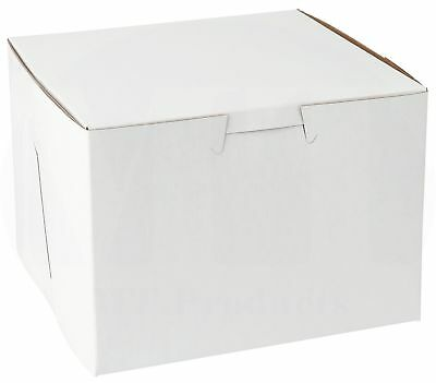 """5.5"""" x 5.5"""" x 4"""" Clay Coated Paperboard White Bakery Box (Pack of 15)"""