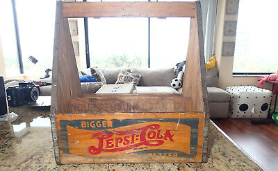 Wooden Crate Six Pack Pepsi Cola Bottle Carrier