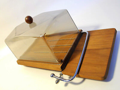 Vtg Mid Century Danish Modern Luthje Teak Wood Denmark Cheese Wire Cutter Board